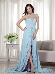 Layers Sweetheart Beading Brush Train High Low Baby Blue Prom Gown