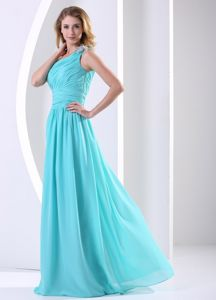 Aqua Blue Chiffon Long Junior Prom Dress Has One Shoulder and Ruche