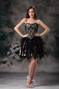 Ruffled Sweetheart Mini-length Black Prom Dress Made by Special Fabric