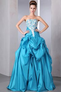 Pick Ups Strapless Applique Ruche Beaded Floor-length Teal Prom Gown