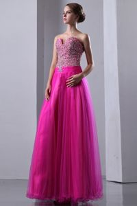 Popular Sweetheart Beading Fuchsia Organza Lace-up Back Prom Dress