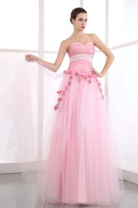Flowers Ruched Sweetheart Appliques Pink Tulle Cairns QLD Prom Dress