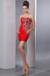 Mini-length Sweetheart Appliques Beading Red Prom Dress in Cairns QLD