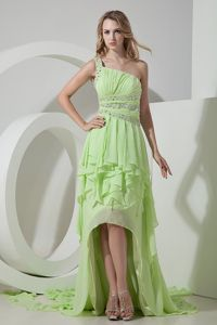 High-low One Shoulder Ruched Beading Ruffles Light Green Prom Dress
