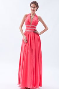Backless Halter Beading Watermelon Chiffon Floor-length Prom Gowns