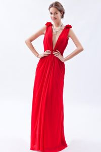 Deep V-neck Flowers Beading Red Chiffon Sydney, NSW Prom Dresses