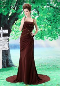 Elyria USA One Shoulder Beaded Brown Formal Prom Gown Dress with Flowers