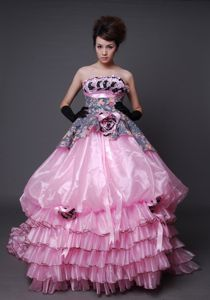 Unique Multi-color Ball Gown Court Train Prom Dress with Printing and Ruffles