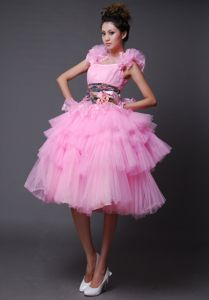 Custom Made Straps Short Pink Prom Dress with Puffy Hem in Greenville OH