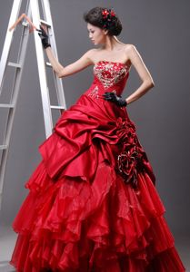 Multi-Tiered Strapless Red A-line Formal Prom Dress with Beading and Ruffles