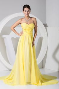 Eastlake OH Watteau Train Backless Yellow Formal Prom Gown for Celebrity