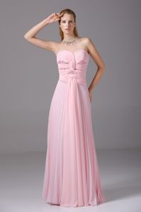 Hot Sale Zipper-up Pleated Ruched Pink Formal Prom Dresses for Juniors