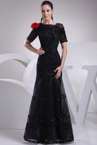 Short Sleeves Black Long Mother Of The Bride Dress with Flower for Wholesale