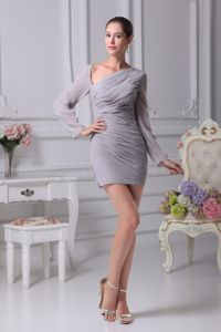 Long Sleeves Mini-length Chiffon Gray Junior Prom Dress with Asymmetrical Hem