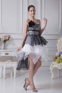 Organza One Shoulder Beaded White and Black Prom Dress with Asymmetrical Hem