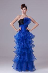 Popular Strapless Black and Blue Formal Prom Dress with Ruffled Layers