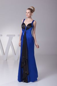 Noble Straps Zipper-up Long Blue and Black Prom Dress in Canfield USA