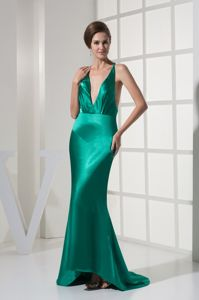 Sexy Plunging V-neck Turquoise Formal Prom Dresses with the Back out