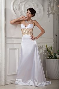 Wholesale Crisscross Back Beaded White Brush Train Senior Prom Dress