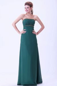 Strapless Beaded Green Long Formal Prom Dress for Mother of the Bride