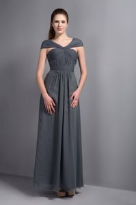 Dover USA Zipper-up V-neck Chiffon Gray Long Prom Dress Fast Shipping