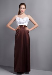 White and Brown Long Dresses for Prom with Sash and Spaghetti Straps
