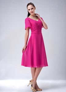 Hot Pink Short Sleeves Ruched Tea-length Prom Gown Dresses in Big Rock
