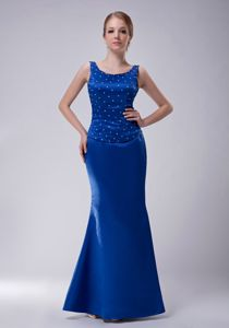 New Arrival Blue Scoop Floor-length Semi-formal Prom Dress with Beading