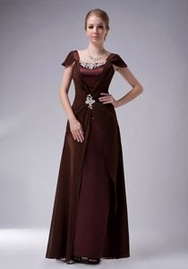 Modest Brown Square Cap Sleeves Full-length Prom Dresses with Beading