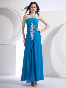 Blue Strapless Ankle-length Prom Gown Dress with Appliques in Columbia