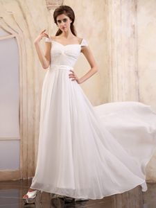 Gorgeous White Square Cap Sleeves Ruched Long Formal Prom Dresses