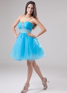 Hot Sale Baby Blue Sweetheart Short Junior Prom Dress with Beaded Waist