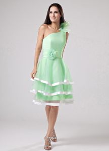 Apple Green Bow One Shoulder Senior Prom Dress with Flower and Layers