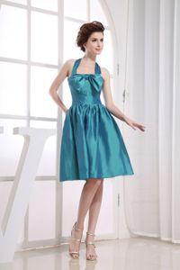 Hot Sale Teal Halter Knee-length Semi-formal Prom Dresses with Bowknot