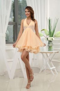 Lovely Peach Halter Mini-length Semi-formal Prom Dresses with Appliques