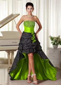 Colorful Strapless High-low Senior Prom Dresses with Pick-ups and Beading