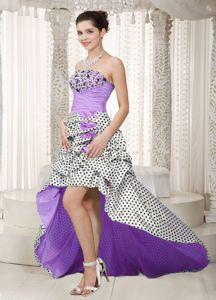 Multi-color Beaded Strapless High-low Informal Prom Dresses with Pick-ups
