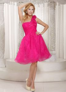 Hot Pink Flowers Single Shoulder Knee-length Prom Gown Dress in Eudora