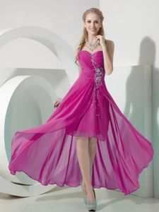 Fuchsia Sweetheart High-low Ruched Semi-formal Prom Dress with Beading