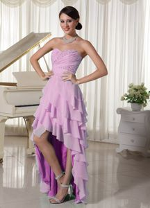 Lovely Pink Sweetheart Beaded High-low Informal Prom Dress with Layers