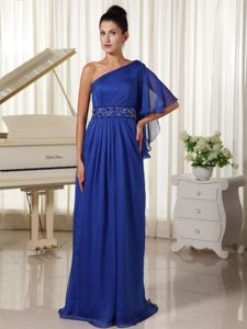 Royal Blue One Shoulder Ruched Long Prom Dresses with Beaded Waist