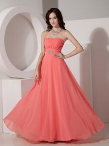 Watermelon Ruched Strapless Full-length Formal Prom Dress with Beading