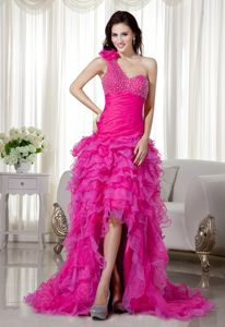 Hot Pink Flower One Shoulder High-low Formal Prom Dresses with Ruffles