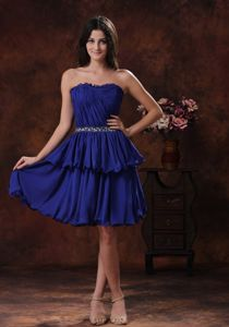 Navy Blue Strapless Mini-length Prom Gowns with Ruching and Beading