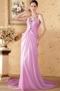 Halter Top Chapel Train Prom Dresses in Pink with Ruching and Beading