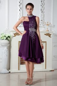 Dark Purple High-neck Knee-length Prom Attires with Beading in Linden