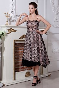 Spaghetti Straps Tea-length Black Prom Outfits with Lace in Massies Mill