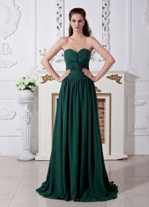 Ruched Sweetheart Empire Dress for Prom in Dark Green with Brush Train