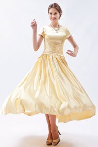 Scoop Short Sleeves Ankle-length Champagne Prom Gowns in Cheshire