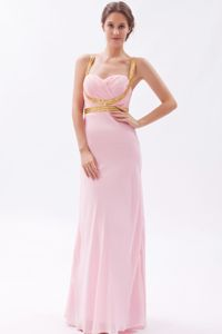 Nice Pink Straps Sheath Prom Gown Dress in Floor-length with Sequins